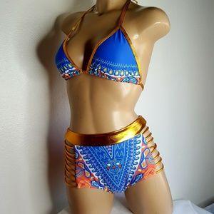 Unbranded multicolor strappy  2 piece bikini set M